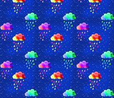 it's raining rainbows fabric by designsbybee on Spoonflower - custom fabric