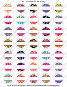 """1.313"""" for 1inch Buttons Circles Editable Jpg 49 Extreme Animal Skin Printable Jewelry Magnets Resin Stickers Download Print Your Own DIY,  Supplies Scrapbooking Digital Collage Sheet zebra pinback button pink cheetah print button machine pyo badge fridge magnet girl panther glass hair bow accessories bottle caps images customizable sticker handmade printable leopard pin backs digital graphics cu cool Pinback Buttons party diva theme Bottle Cap Jewelry, Bottle Caps, Bottle Top Crafts, Button Image, Hair Bow Tutorial, Bottle Cap Images, Bow Accessories, Printables, Printable Labels"""