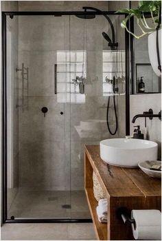 75 Cool Farmhouse Bathroom Remodel Decor Ideas, walk in tile shower and rustic bathroom vanity with vessel sink, rustic bathroom design, neutral master bathroom Rustic Bathroom Designs, Design Bathroom, Bathroom Layout, Bathroom Inspo, Tile Layout, Bathroom Colors, Bathroom Updates, Relaxing Bathroom, Restroom Design
