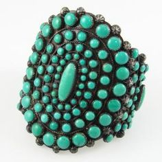 Kingman Turquoise Cluster Bracelet by Greg Thorne - Garland's Indian Jewelry. $2,400