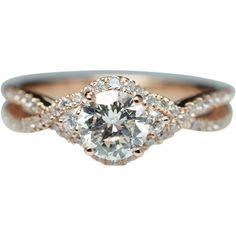 Vintage Style Three Stone Diamond Halo Engagement Ring & Wedding Band Set 14k Rose Gold