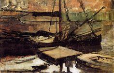 Moored ships sun - by Piet Mondrian