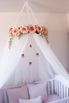 Juliette Canopy – Serene Floral Crib Canopy // Bed Crown // Mobile // Nursery Decor // Teepee // Baby Shower Gift // Pink Peonies and Roses Blume Krippe Baldachin mobile Krone