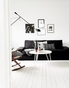 Living room  rocking chair  white floorboards  charcoal