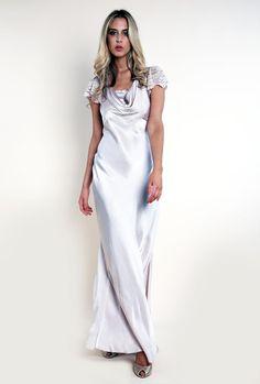 SCARLETT SATIN DRESS - NUDE, by ghost