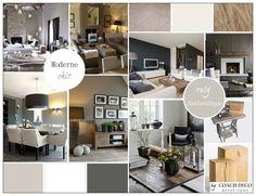 """Ambiance élégante et moderne ponctuée de touches """"rustic chic"""" pour un salon, salle-à-manger cosy"""
