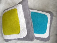 color block pillow cover 16x16 aqua by pillowhappy on Etsy, $22.00
