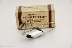 Manucraft Company Chrome Turbulure Lure This is a neat Vintage Manucraft Company Chrome Turbulure Lure. The lure dates to the early 1940's from Evergreen Park Illinois. The scarce lure comes with its ,equally if not more scarce correct 2Pc Cardboard Box. As with many fishing lures the...