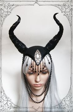 Extravagant handmade headdress made of felt, metal, faux leather and pearls.    Lightweight an comfortable
