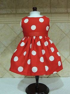 "RED AND WHITE POLKA DOT DRESS FITS AMERICAN GIRL 18"" DOLLS"