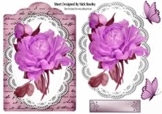 Pretty hand painted pink rose on lace   script with topper on Craftsuprint - View Now!