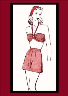 Vintage 1940's Style Shorts and Bikini