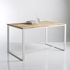 Table 4 couverts, en chêne massif abouté et acier, Hiba La Redoute Interieurs | La Redoute Mobile