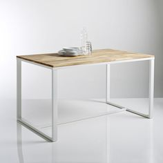 HIBA Solid Oak and Steel 4 Seater Table La Redoute Interieurs | La Redoute Mobile