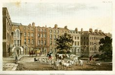 A view of Soho Square in London, from Ackermann's Repository of Arts, 1812.