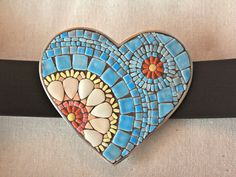 Mosaic Heart Buckle and Belt White and Pink by SallyMaysMosaicArt, $105.00