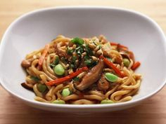 Get Anne Burrell's Chicken and Vegetable Stir-Fry with Udon Noodles Recipe from Food Network