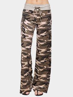 Brown Lace-up Design Camouflage Drawstring Waist Pants - US$23.95 -YOINS