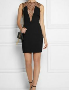 SAINT LAURENT Crystal-embellished mesh and crepe mini dress