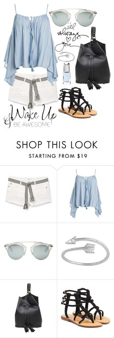 """""""White denim"""" by grinevagh ❤ liked on Polyvore featuring MANGO, Sans Souci, Christian Dior, Burberry, Mystique and Leighton Denny"""
