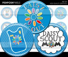 104 Daisy Girl Scout Printables for moms, leaders, and volunteers JPG JPEG - 1 inch round bottle cap images for stickers, pendants, and more. $1.75, via Etsy.