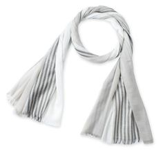 Corciova®  Thin Long Striped Silver Selvedged Cotton Linen Scarf with Tassel Ends Grey