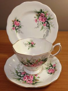 """Royal Albert """"Lily of the Valley"""" tea trio Bone China Made in England"""