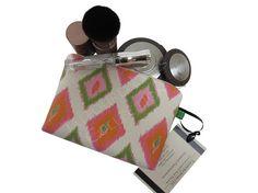 Orange Green Ikat Diamond X-Small Makeup Bag - Zipper Cosmetic Pouch - Female Accessory - Premier Prints Carnival - Mom Makeup Gift Idea by TalfourdJones
