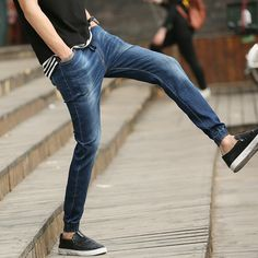 19.13$  Buy now - http://alidtt.shopchina.info/go.php?t=32795583285 - 2017 new Hiphop Trousers Summer Fashion Men's Jeans  Blue Slim Denim Pants Blue For Male Casual Harem jeans  #buymethat