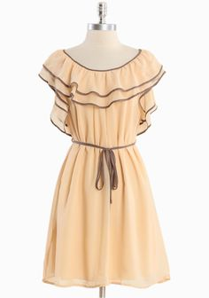 """Riviera Sunset Ruffle Dress 48.99 at shopruche.com. Designed in a luxurious semi-sheer silk blend, this soft chiffon dress in twilight yellow is complimented with coco trim, a waist-defining sash, and romantic ruffle detail. Fully lined.Self: 60% Silk, 40% Polyester, Lining: 100% Polyester, Imported, 35"""" length from top of shoulder"""