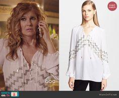 Rayna's white blouse with zig zag sequins on Nashville. Outfit Details: http://wornontv.net/46417/ #Nashville