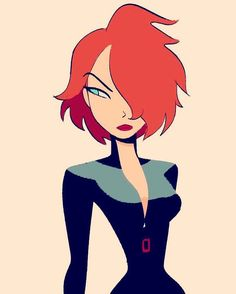 Black Widow from the Avengers in a Bruce Timm style~
