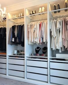 20 Inspiring IKEA Pax Closet Makeovers – Bless'er House A round-up of the best closet makeovers using the IKEA Pax system with hacks to make it look custom and solutions for creating the most functional closet. Ikea Closet System, Walk In Closet Ikea, Ikea Pax Closet, Ikea Closet Organizer, Ikea Pax Wardrobe, Closet Hacks, Wardrobe Room, Closet Makeovers, Small Walk In Wardrobe