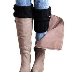 FAYBOX Winter Leg Warmer Crochet Knit Boot Socks Button B...