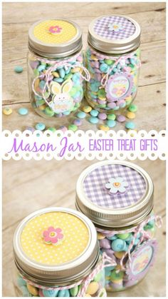 These Mason Jar Easter Treat Gifts are perfect for Easter morning! #easter #masonjargifts #partyfavors