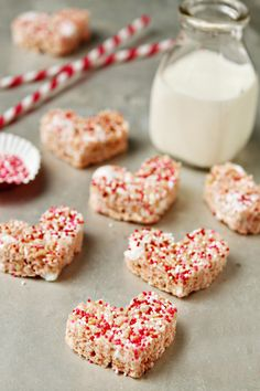 Traditional Rice Krispie Treats are given a Valentine's Day makeover with strawberry marshmallows and festive sprinkles.