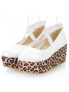 Leopard Decorated Pointed Toe Cross Strap White Platform Shoes