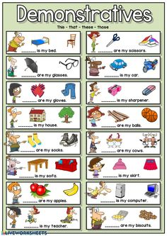Demonstratives Language: Grade/level: Elementary School subject: English as a Second Language (ESL) Main content: Demonstratives Other contents: demonstrative pronouns, This - that - these - those English Lessons For Kids, English Worksheets For Kids, English Activities, Pre K Math Worksheets, Pronoun Activities, Demonstrative Pronouns, Grammar For Kids, English Exercises, Be My Teacher