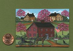 KARRY JOHNSON IGMA Original ACEO COUNTRY HOUSES & A CARRIAGE Miniature Painting