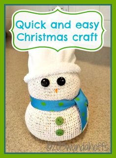 Easy Snowman Christmas Craft - Mom will need to help w/hot glue gun