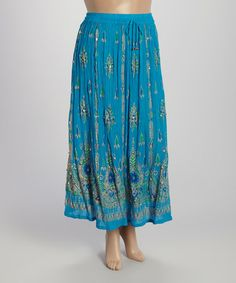Look at this #zulilyfind! Turquoise Arabesque Maxi Skirt - Plus by Highness NYC #zulilyfinds