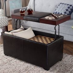 furniture: brown leather square ottoman coffee table when you open