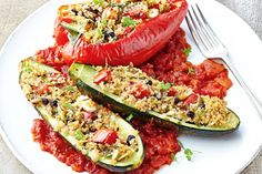 {Couscous, herb & seed stuffed vegetables} Create an exciting side dish or main as you eat a rainbow of colour and flavour. Vegetable Recipes, Vegetarian Recipes, Cooking Recipes, Healthy Recipes, Healthy Habits, Vegetable Couscous, Couscous Recipes, Healthy Food Options, Herb Seeds