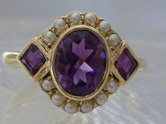 9ct+Solid+Gold+Vintage+Insp+Natural+Amethyst+&+by+GTJewellers,+$220.99