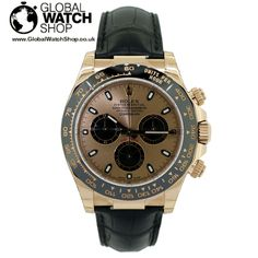 A beautifully customised rose gold Rolex Daytona. 1 of 1 http://www.globalwatchshop.co.uk/rolex-daytona-rose-gold-leather-116515.html?utm_content=bufferd9a15&utm_medium=social&utm_source=pinterest.com&utm_campaign=buffer Available now