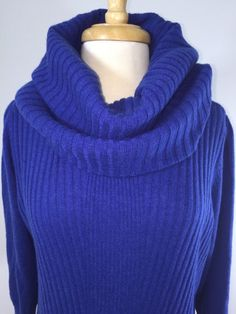 Cashmere Sweater Size XL from Classiques Entier (Nordstrom brand). Blue Cowl Neck with 3/4 Sleeves.