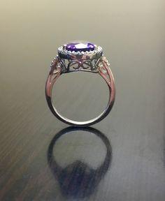 Art Deco Diamond Amethyst Engagement Ring Pear by DeKaraDesigns