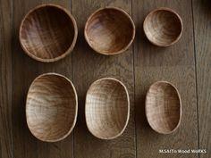 M.SAITo Wood WoRKS   oval bean pot & bowl Pea 0174-0179