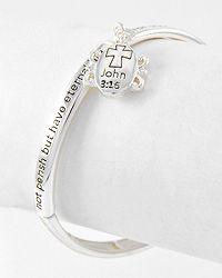 Antique Silver Tone John 3:16 Christian Charm Stretch Bracelet