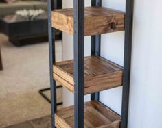 Pallet Wood Side Table with Metal Legs and by woodandwiredesigns